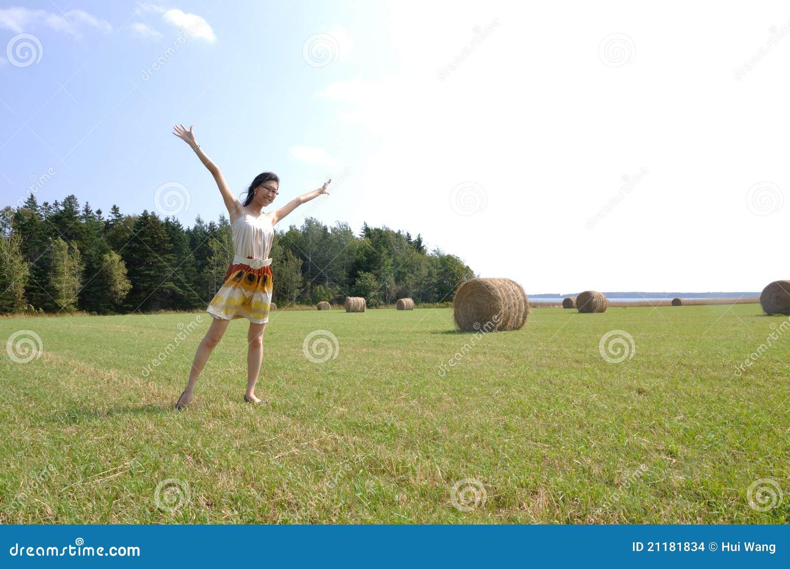 Dancing on a farm field