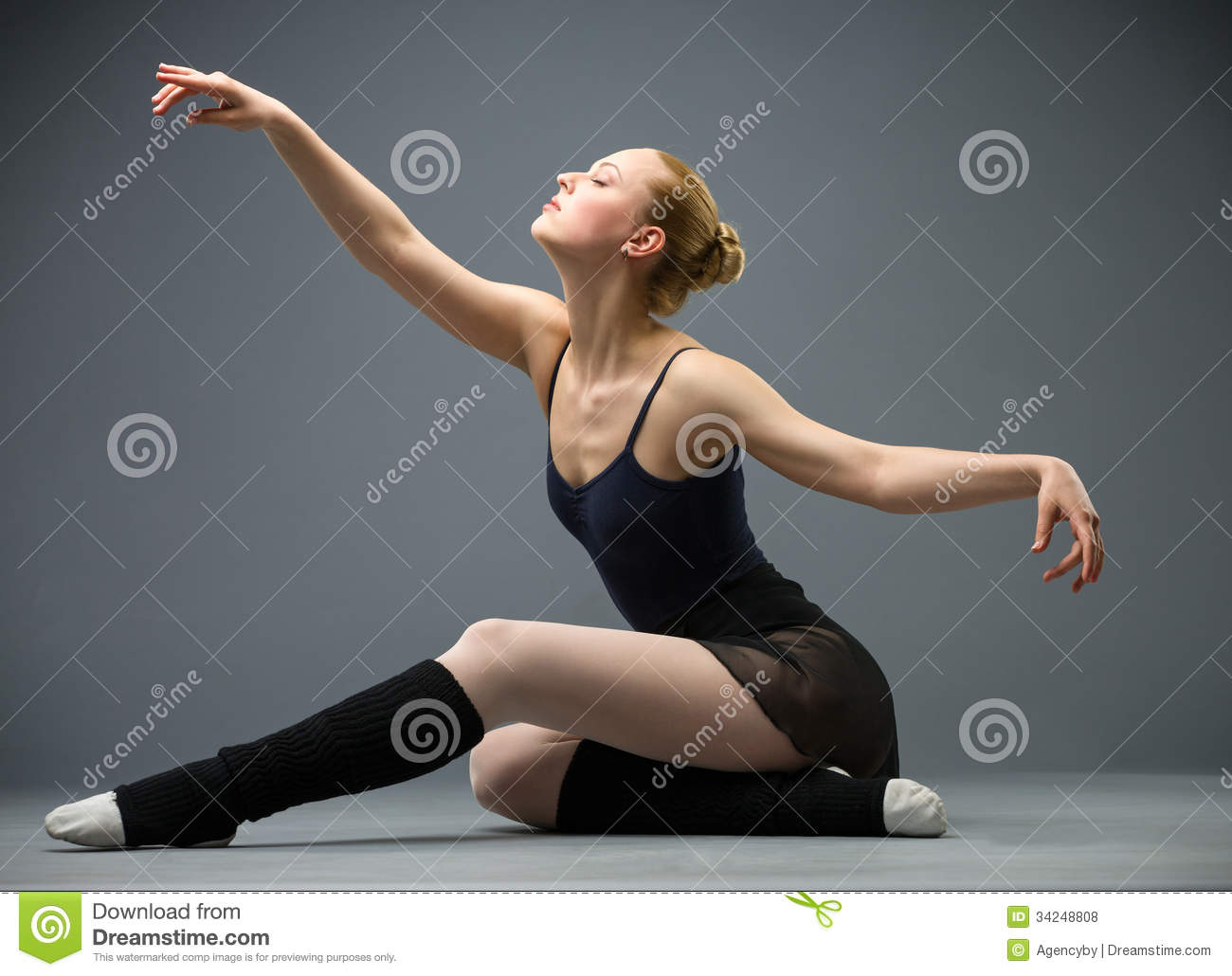 Dancing On The Floor Ballerina With Outstretched Arms