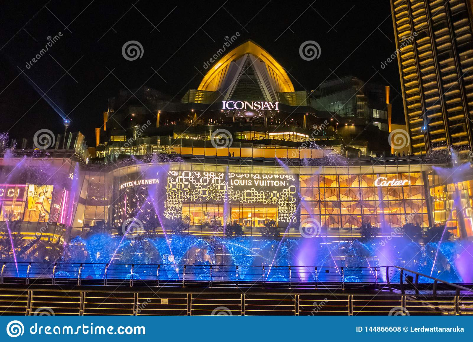 Dancing fountain At ICONSIAM building thailand