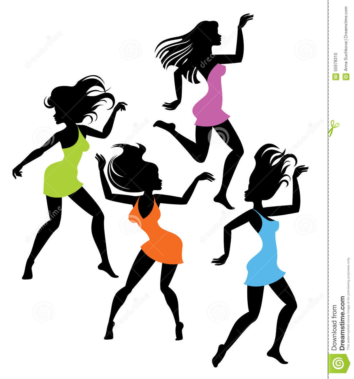Dancing Girl Silhouettes Stock Vector - Image: 55978310