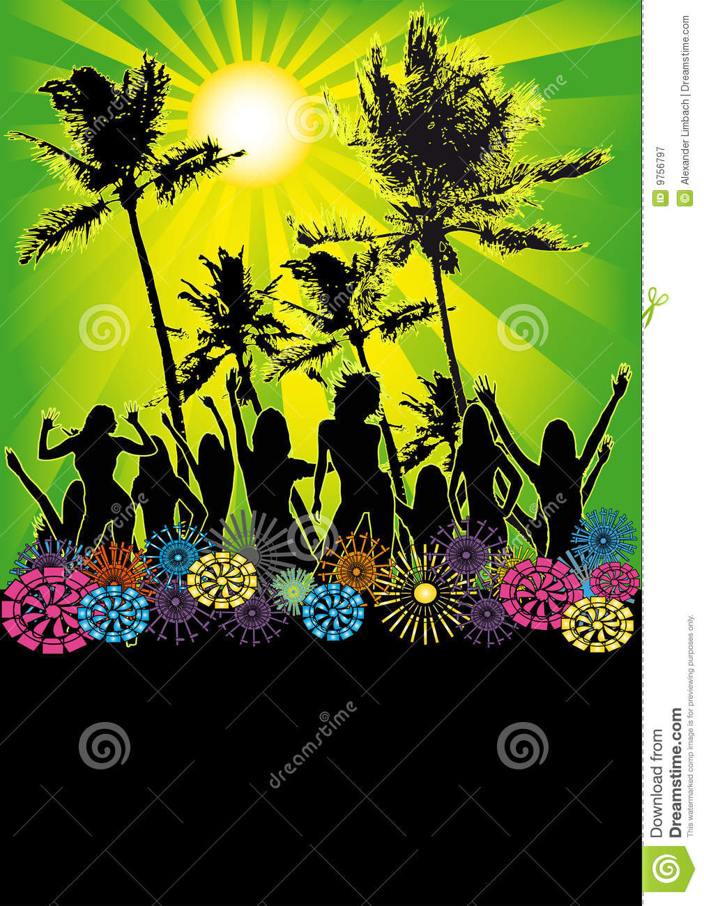 dancing girls beach party flyer or poster stock vector