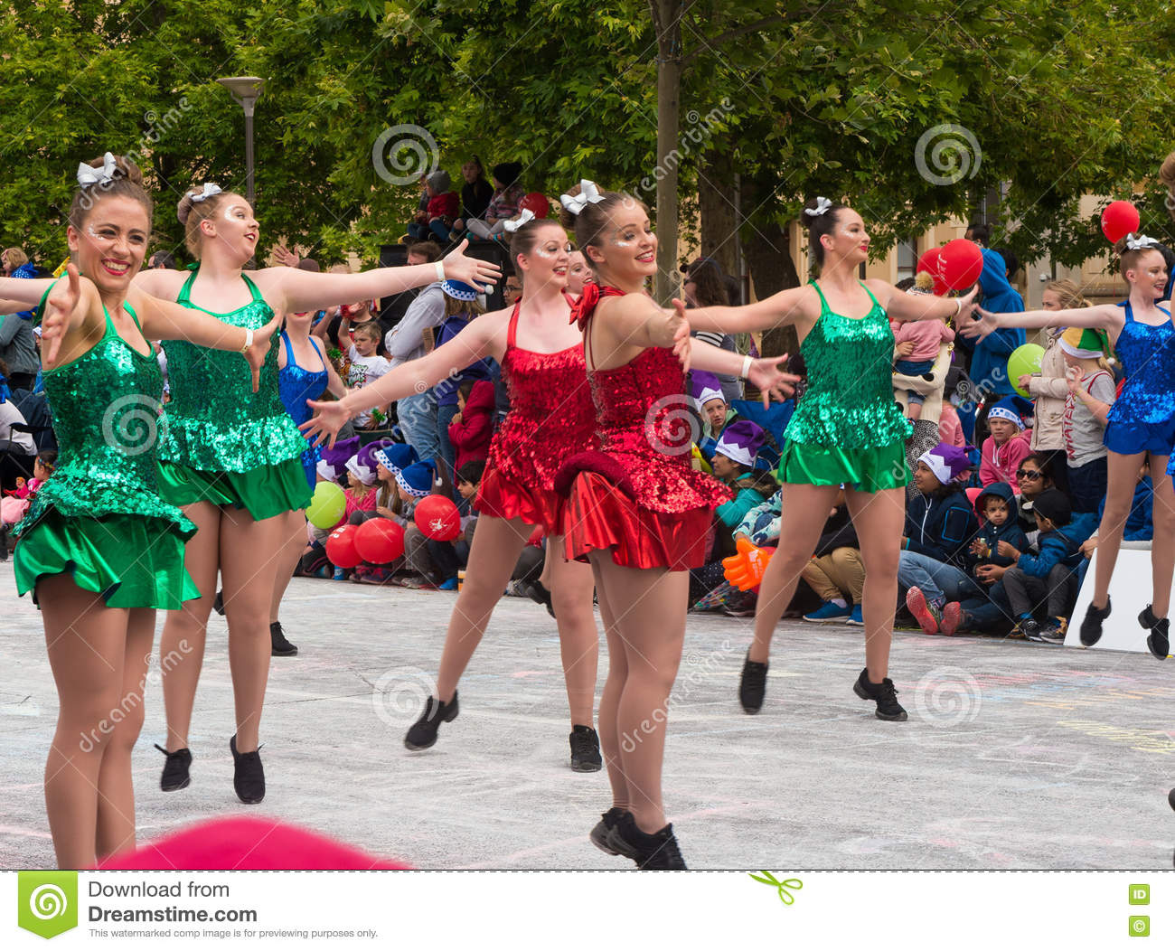 Dancing Girls At Christmas Pageant Editorial Image - Image ...