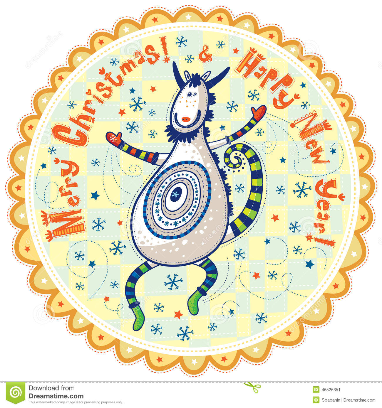 dancing goat happy new year and merry christmas