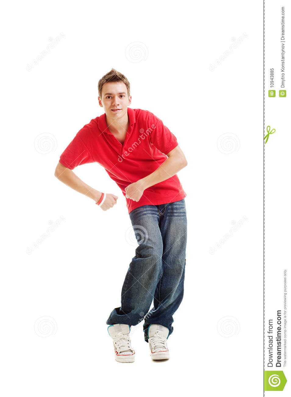 Dancing Hip Hop Guy In Red T Shirt Royalty Free Stock