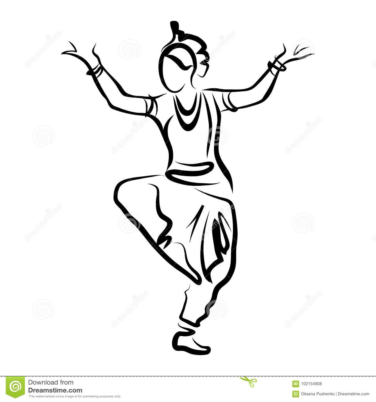 Dancing Indian Woman Stock Vector Illustration Of Odissi 102154908
