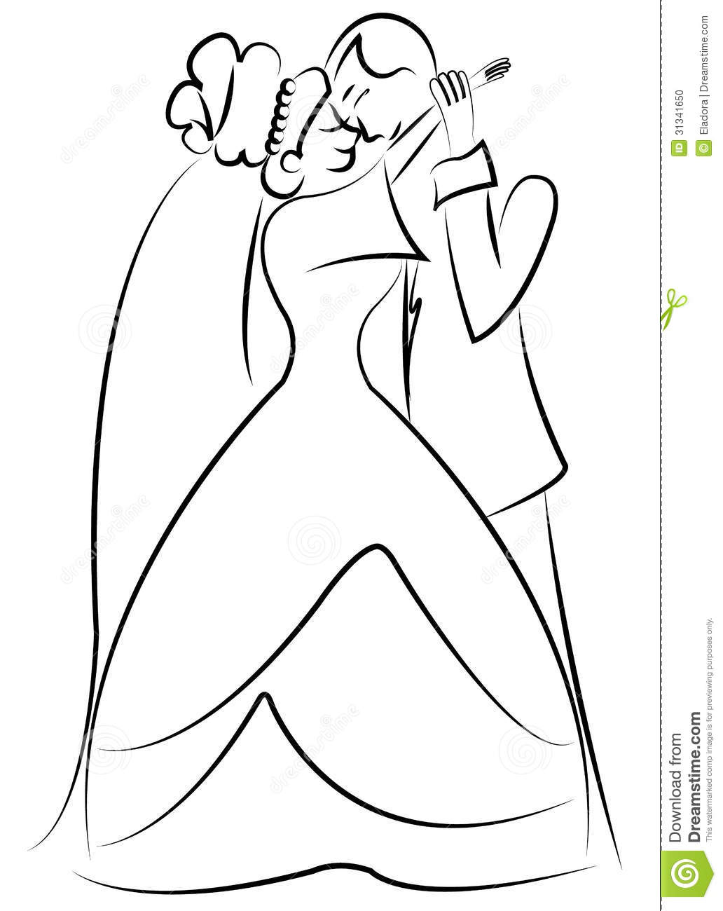 Line Drawing Wedding Couple : Dancing just married couple stock vector image
