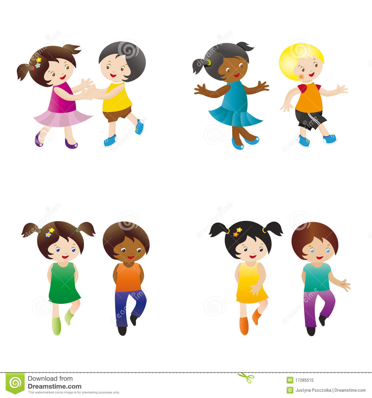 Dancing kids stock vector. Illustration of green, hold ...