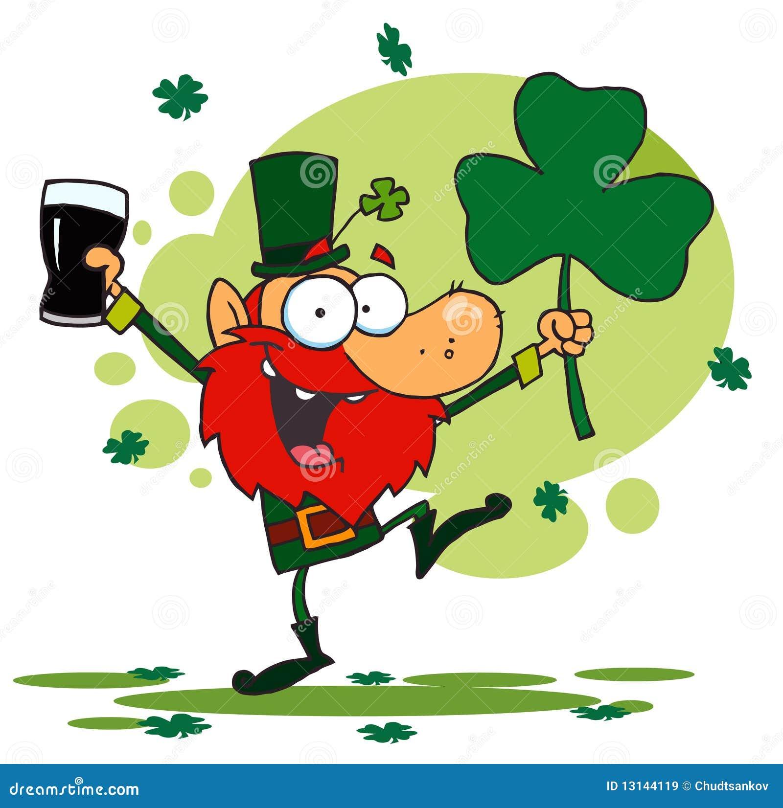 Dancing Leprechaun Holding A Shamrock And Beer Stock Vector ...