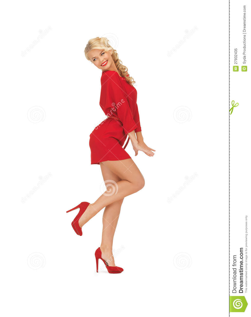 dc8b7add6661 Dancing Lovely Woman In Red Dress Stock Image - Image of fashion ...