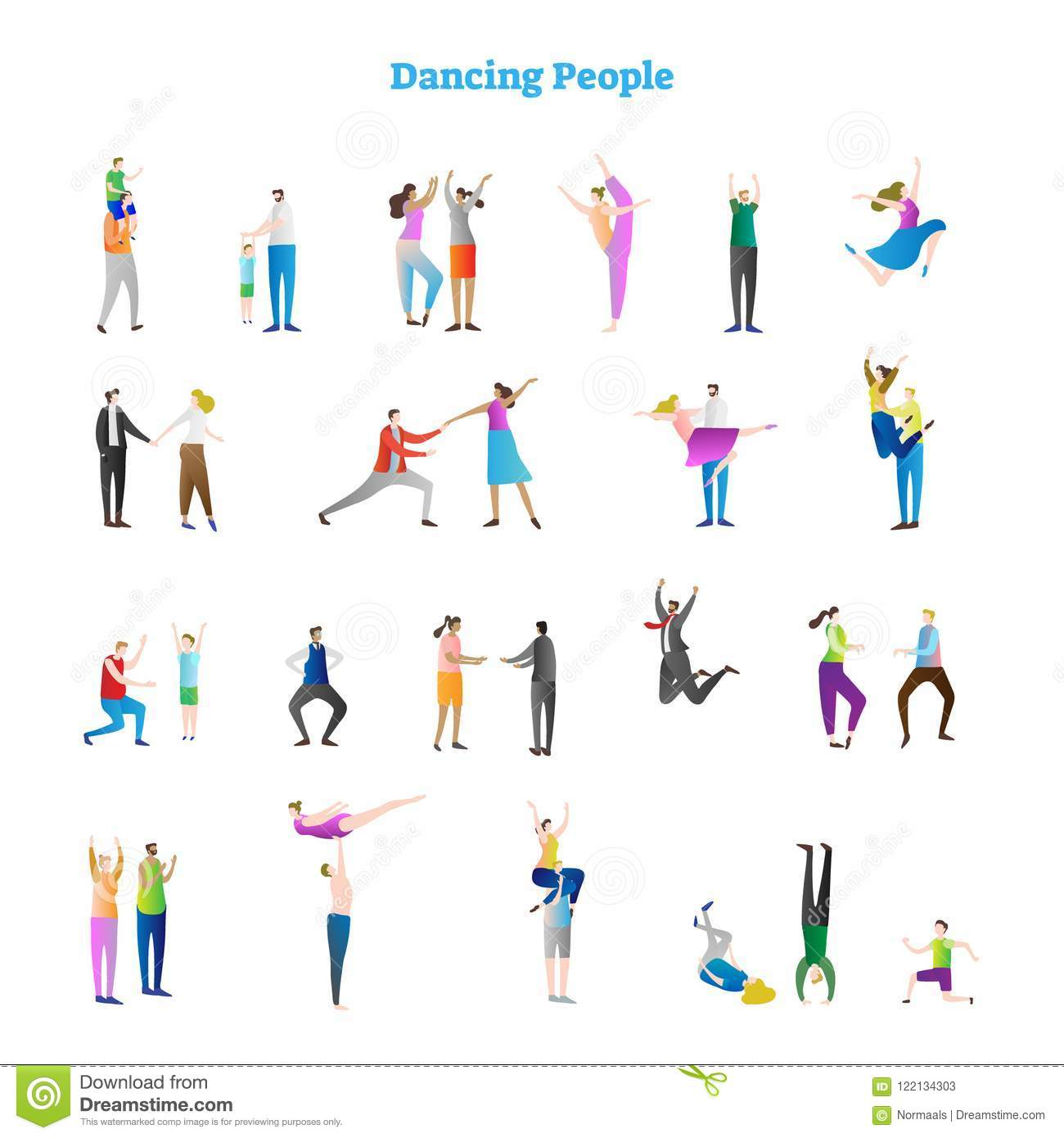 Dancing People Vector Illustrations Collection Various Groovy Dance Moves Fun Party Crowd Festive Event Kids And Adults Stock Vector Illustration Of Funky Motion 122134303