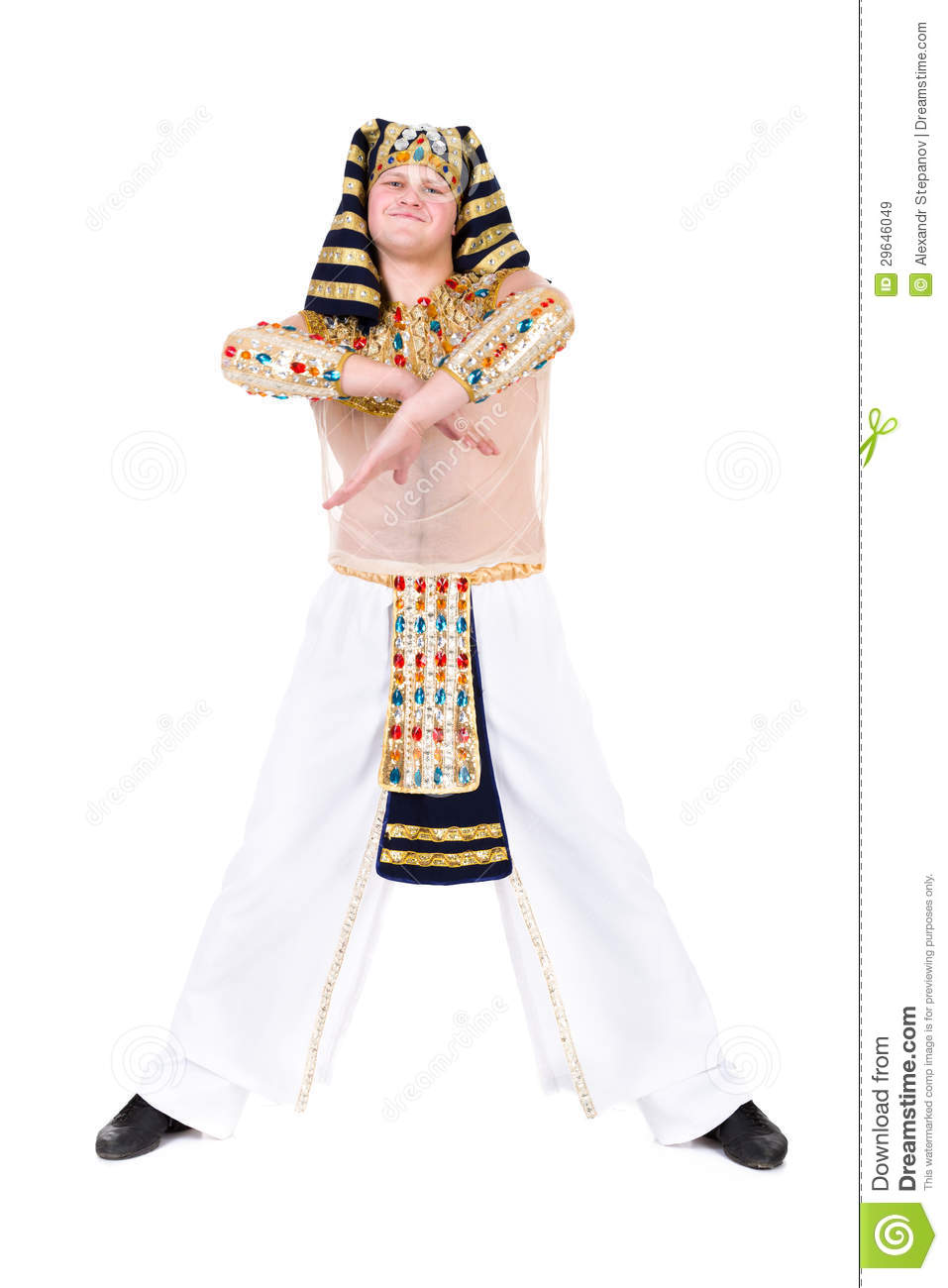 Dancing Pharaoh Wearing A Egyptian Costume. Royalty Free Stock ...