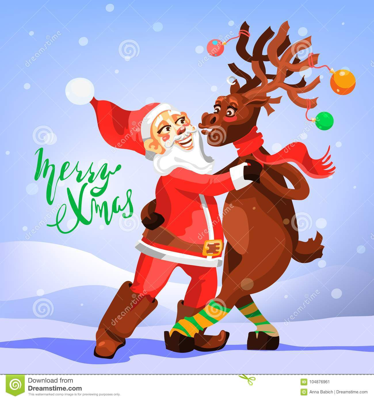 download dancing santa claus with christmas reindeer funny and cute merry christmas greeting card stock - Funny Merry Christmas
