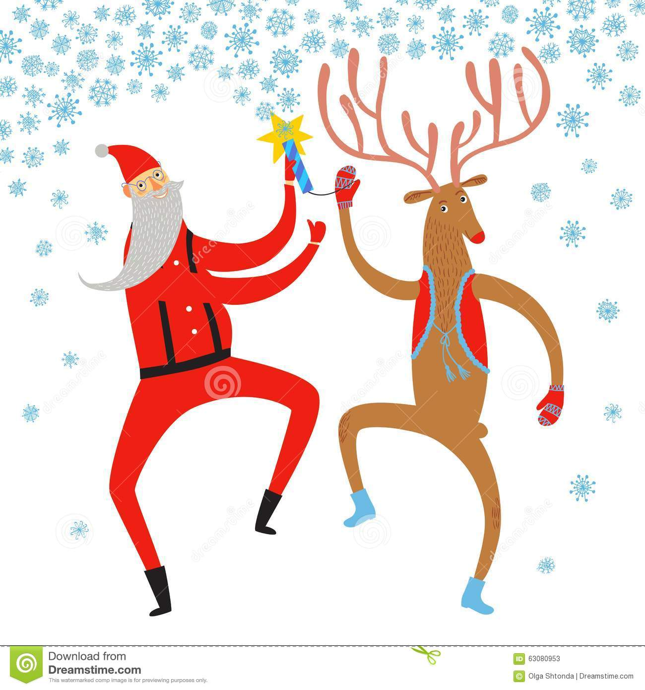 Christmas Dancing Santa.Dancing Santa Claus And Deer Illustration Stock Illustration