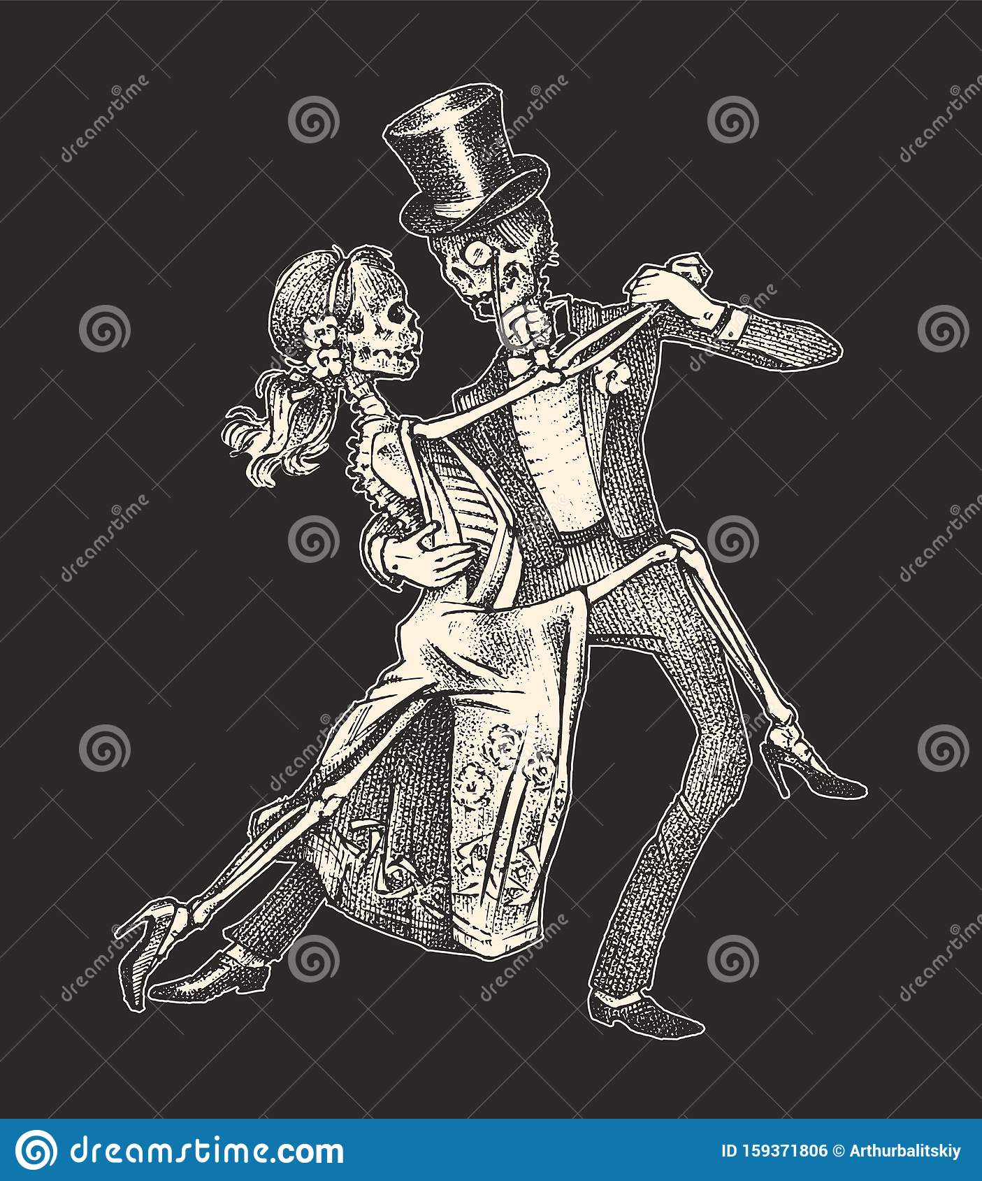 Dancing skeletons. Halloween banner template. Day of the dead. Hand drawn engraved sketch for tattoo, t-shirt or logo.