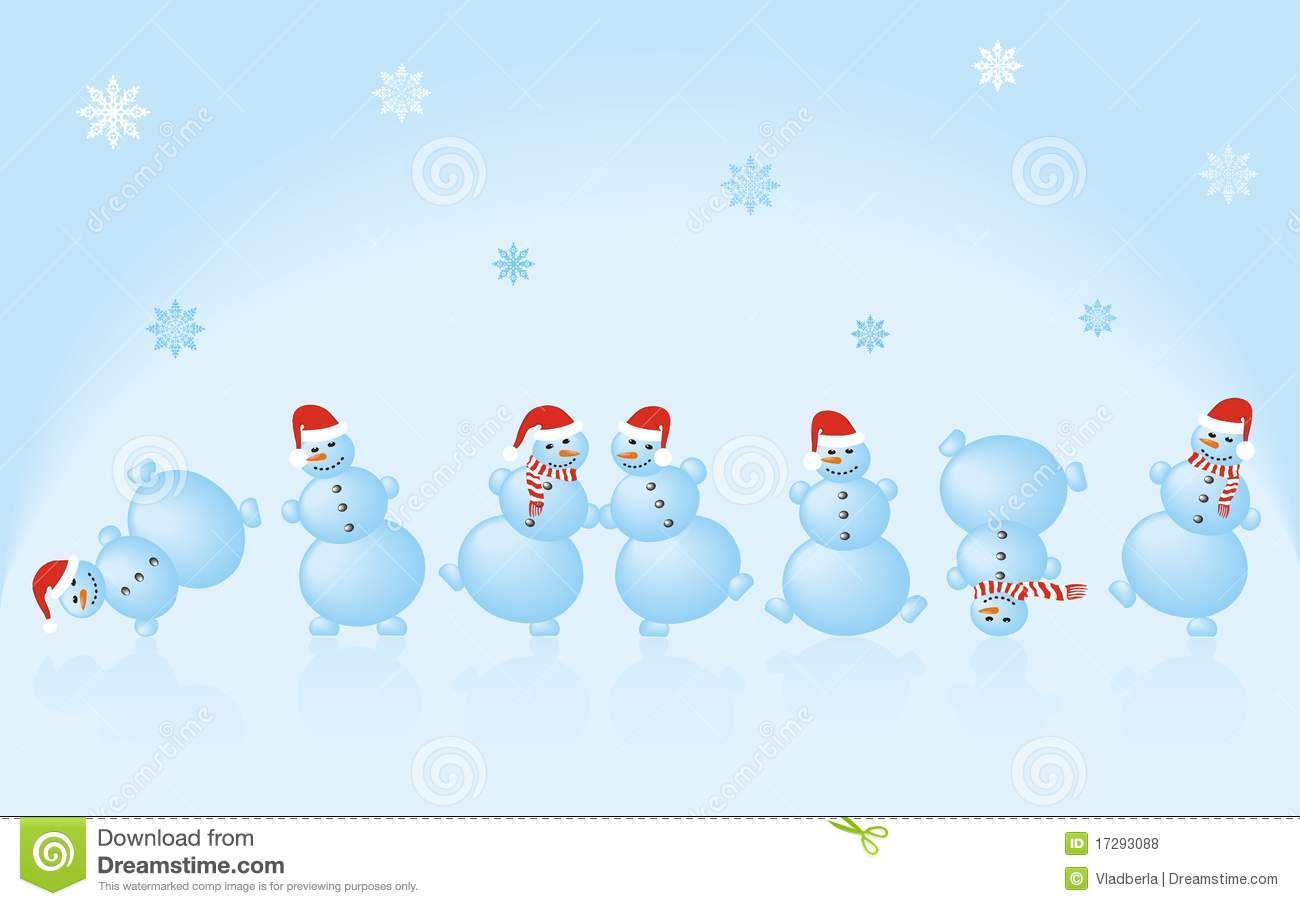 Dancing snowman in Christmas hats on a background of blue snowflakes.