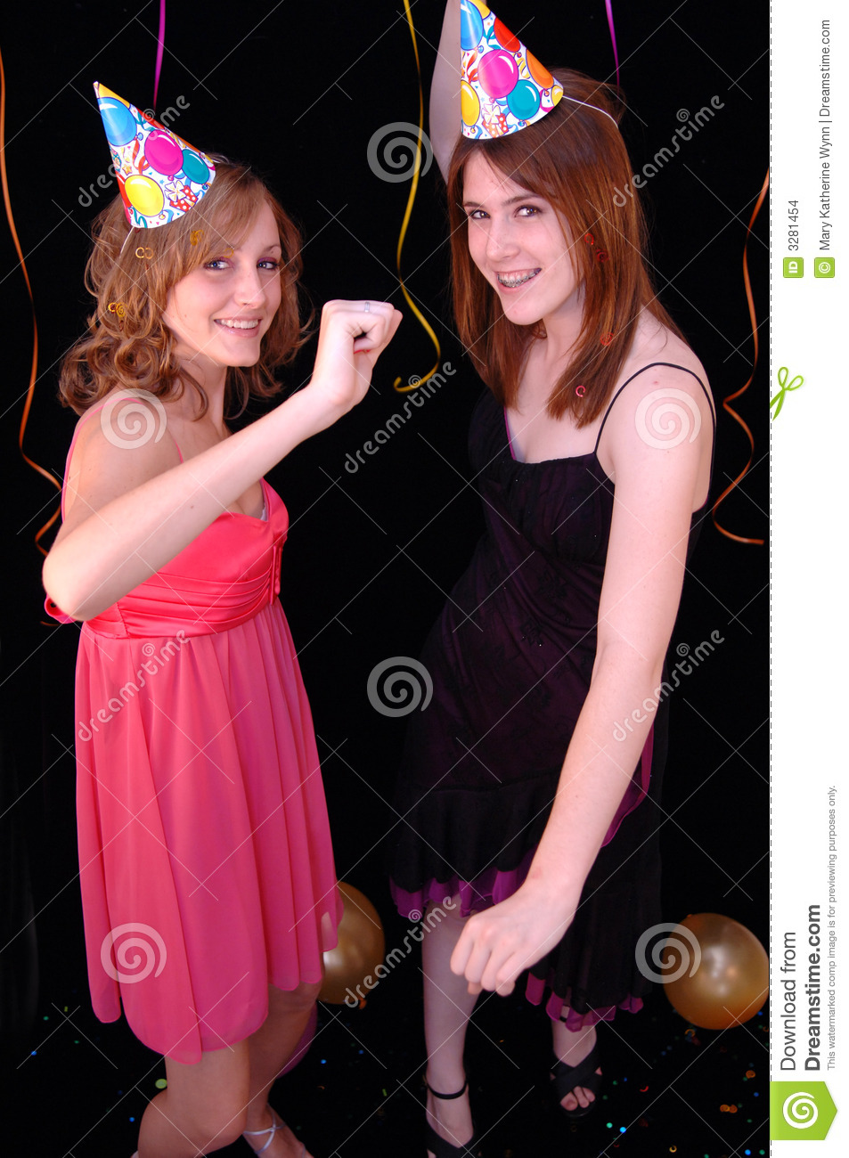 Dancing Teens In Party Hats Stock Images - Image: 3281454