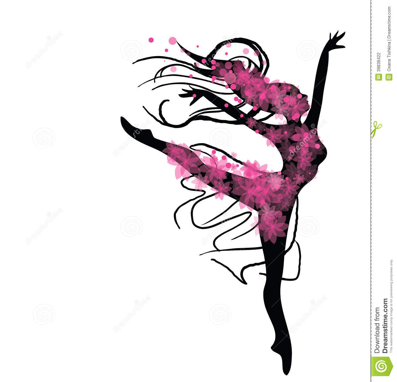 ... with beautiful dancing woman silhouette with flowers in pink colours