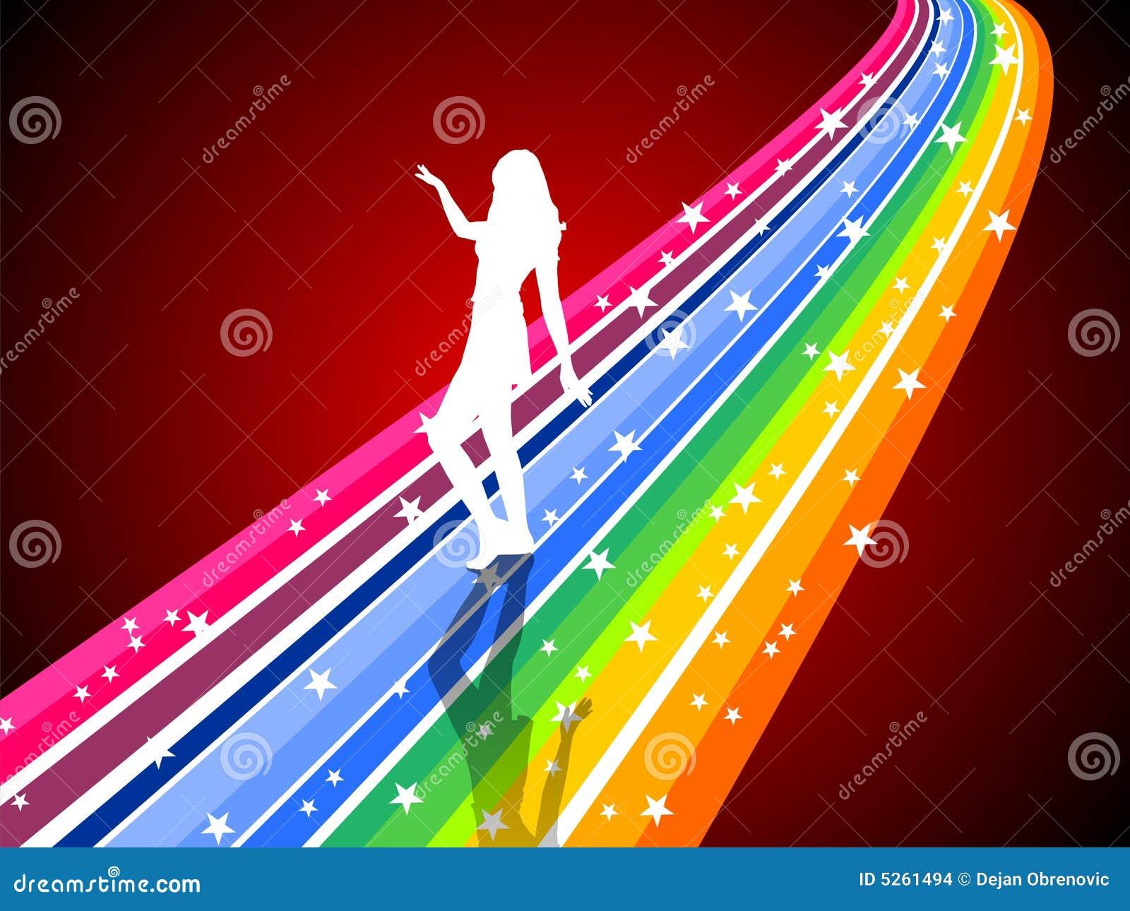 Dancing woman on a rainbow