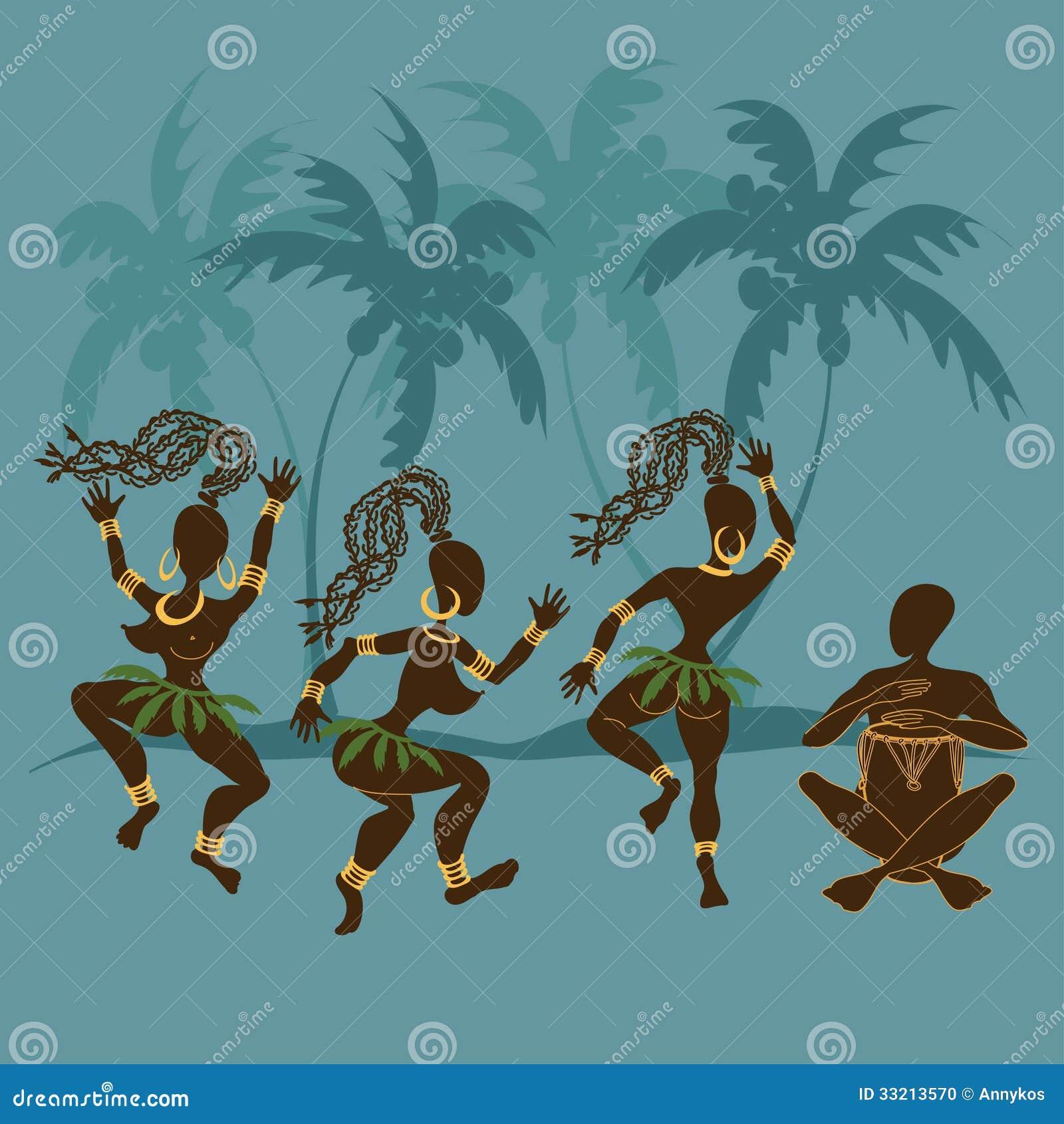 Dancingowe Afrykańskie aborygen dziewczyny, dobosz i