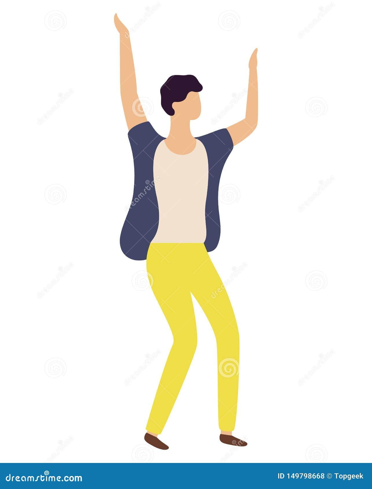 Dancingowy facet w Żółtych spodń Odosobnionym tancerzu