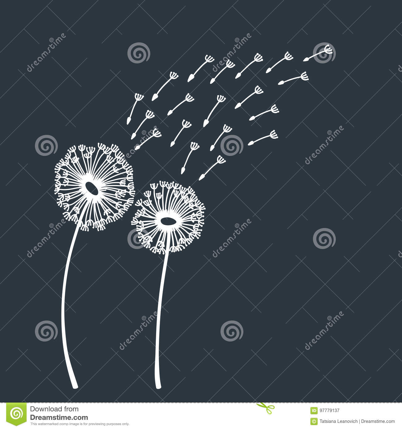 Dandelion blowing silhouette