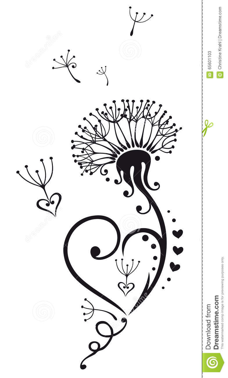 Dandelion With Hearts Stock Vector Illustration Of Design 65601103