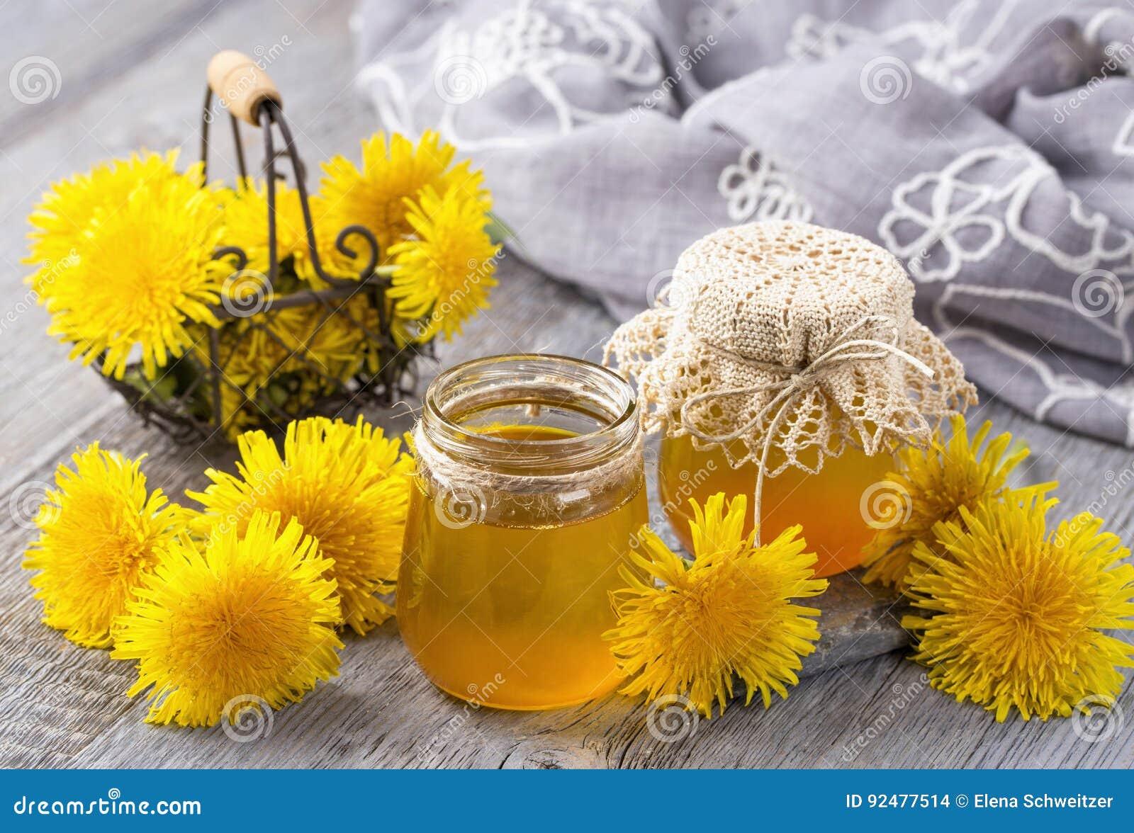 https://thumbs.dreamstime.com/z/dandelion-honey-jar-fresh-flowers-92477514.jpg