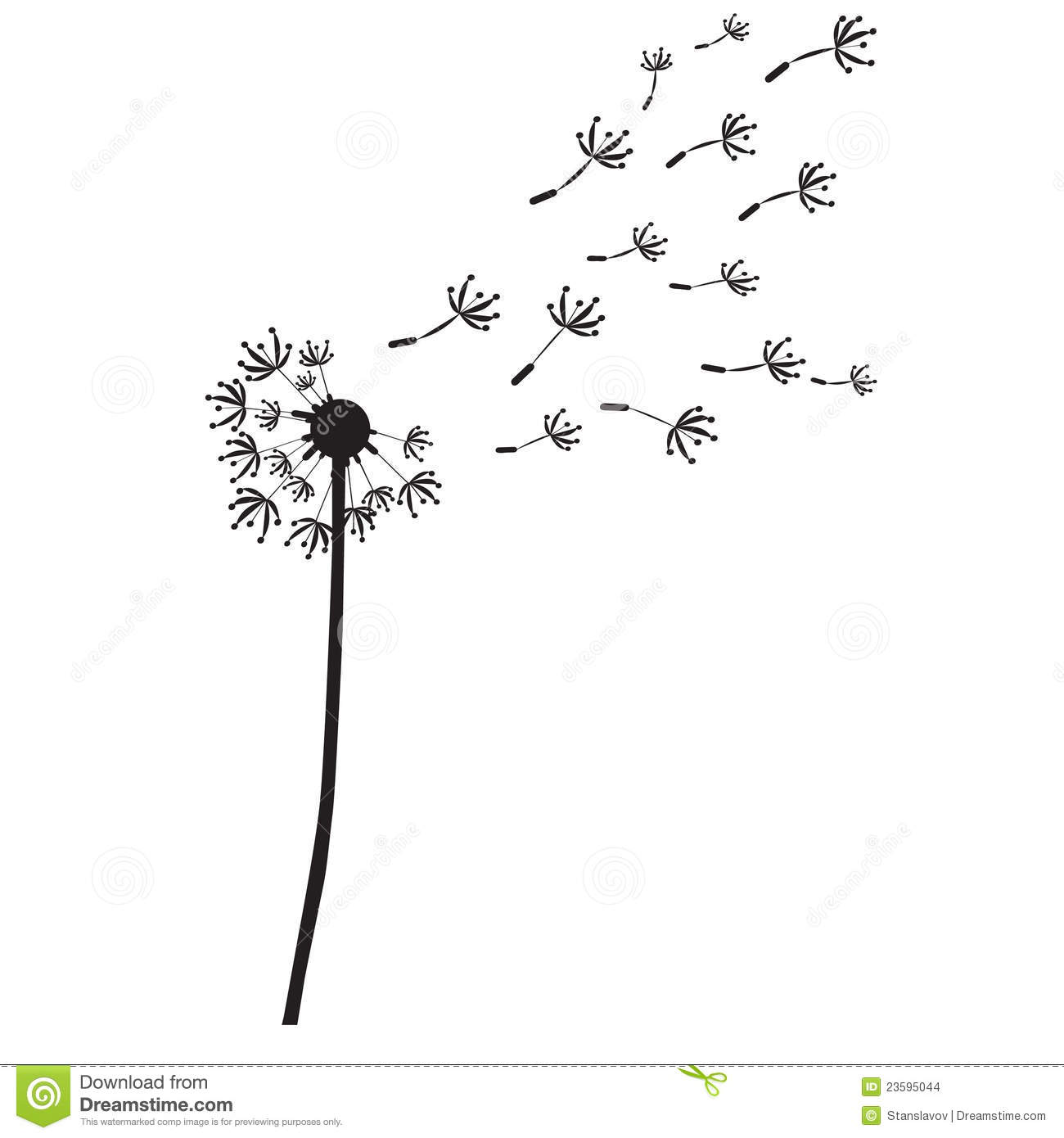 Dandelion Outline Silhouette Stock Illustration Illustration Of