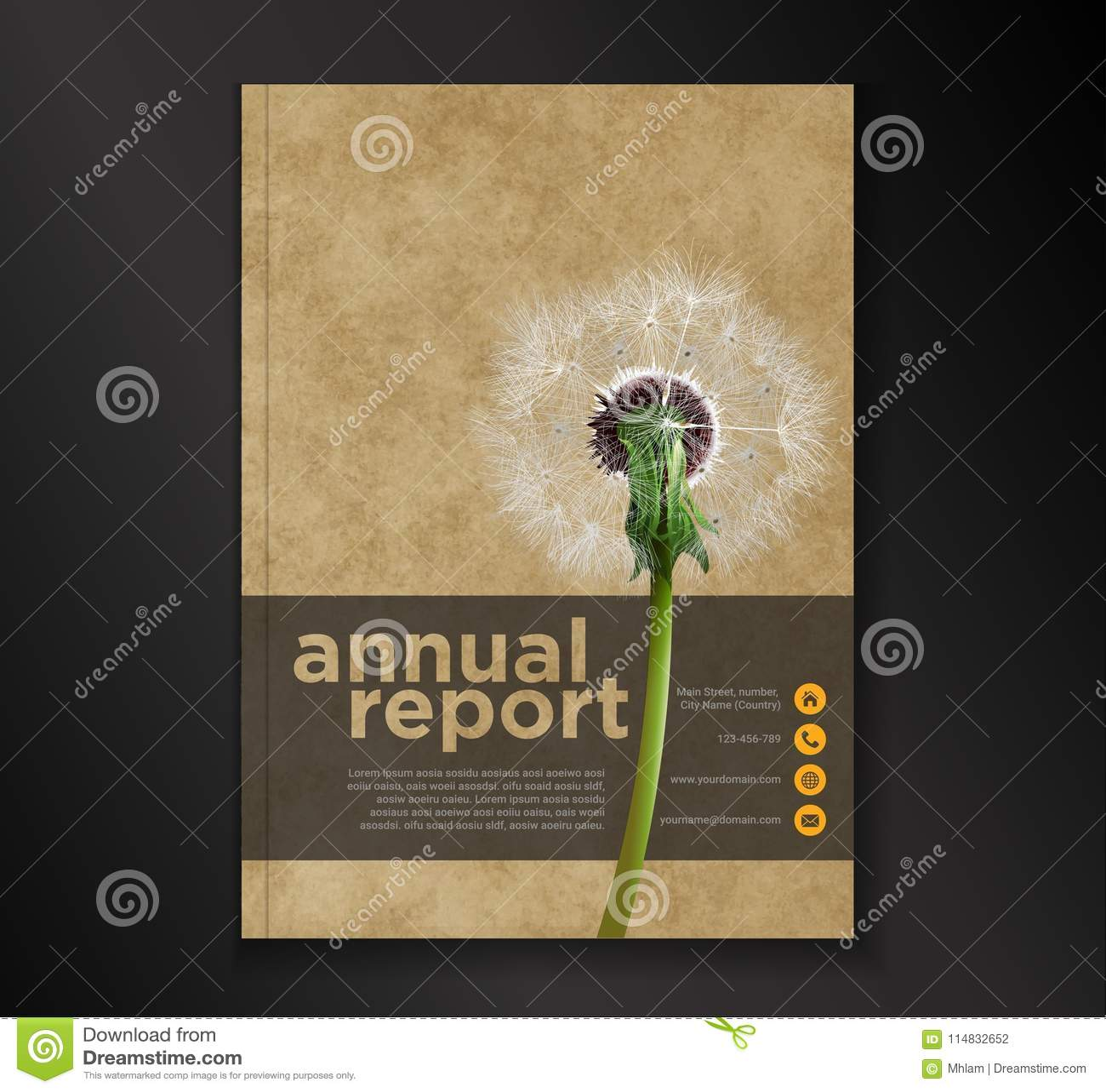 Dandelion sprawozdania rocznego broszurki ulotki projekta szablon, ulotki okładkowej prezentaci abstrakcjonistyczny płaski tło, u