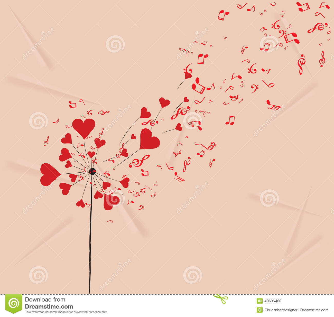 Dandelions hearts and music valentines romantic background The designlover