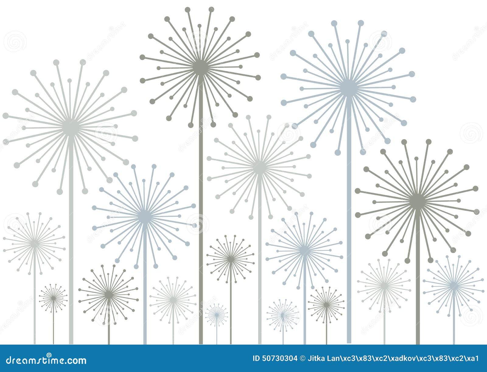 Dandelions Silhouettes On White Background Stock Illustration