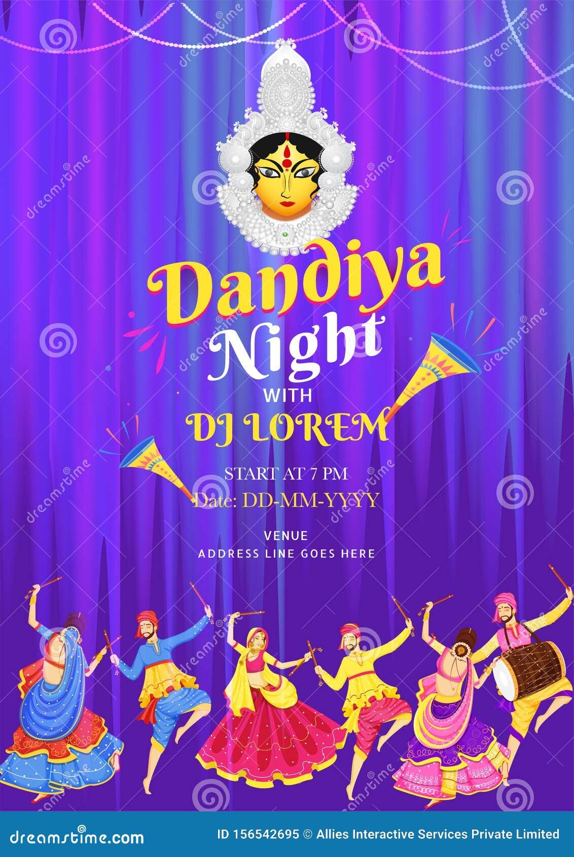 Dandiya Night Dj Party Invitation Card Design With