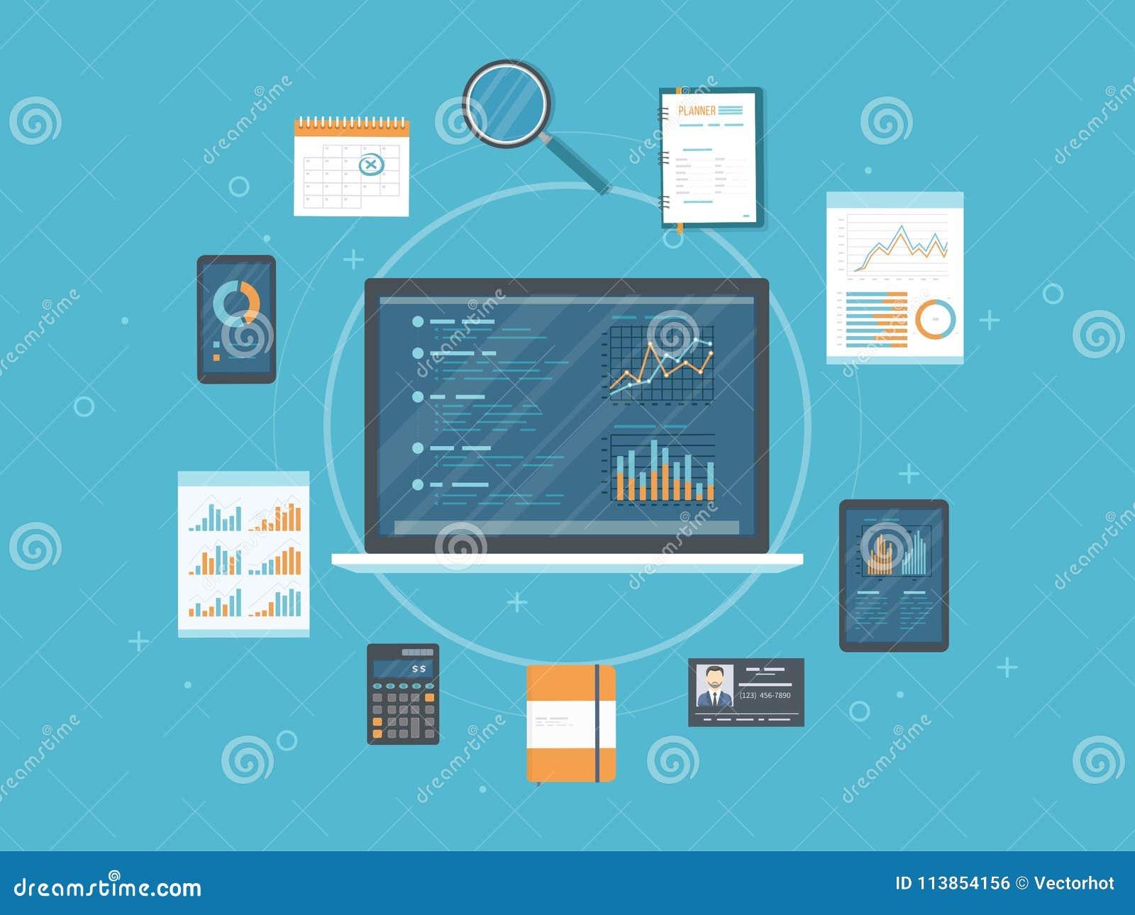 Dane analiza, analityka, skontrum, badanie Sieć i online wiszącej ozdoby usługa Dokumenty, mapa wykresy na ekranach laptop dzwoni