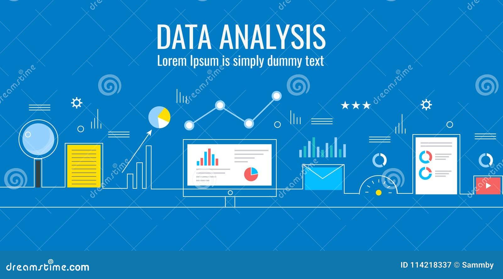 Dane analiza, marketingowe analityka, biznesowa technologia, ewidencyjny monitorowanie pojęcie Płaski projekta wektoru sztandar