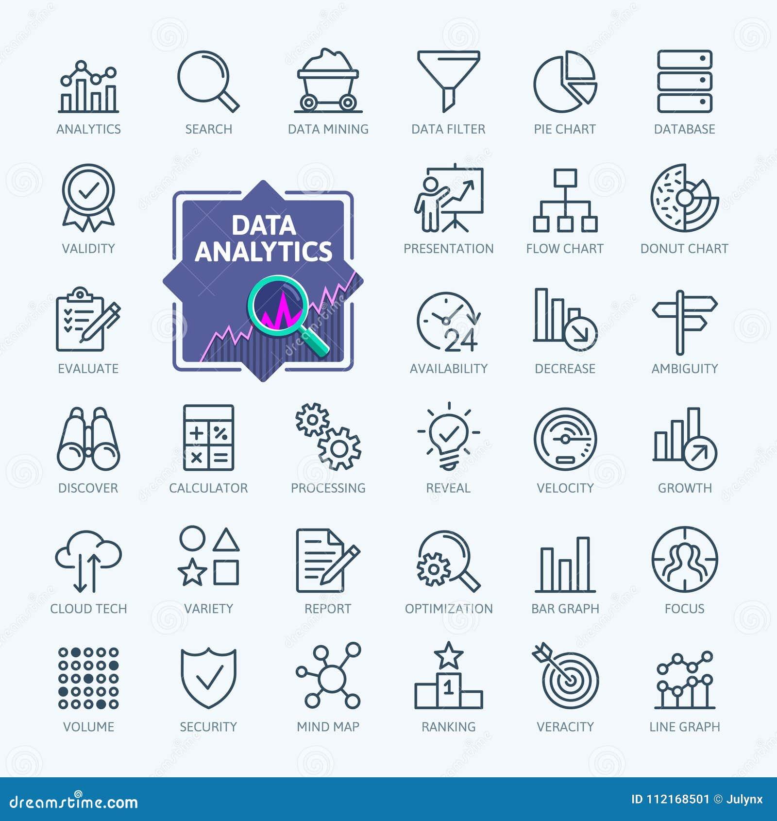 Dane analiza, statystyki, analityka - minimalne cienieje kreskowego sieci ikony set Kontur ikony inkasowe