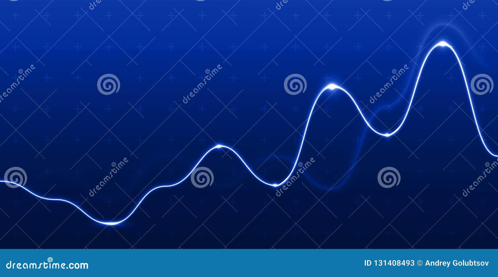 Dane analizy wykresu światła mapy linii błękita tło Wektorowego postępu diagrama flowchart wzrostowy dynamiczny pieniężny diagram