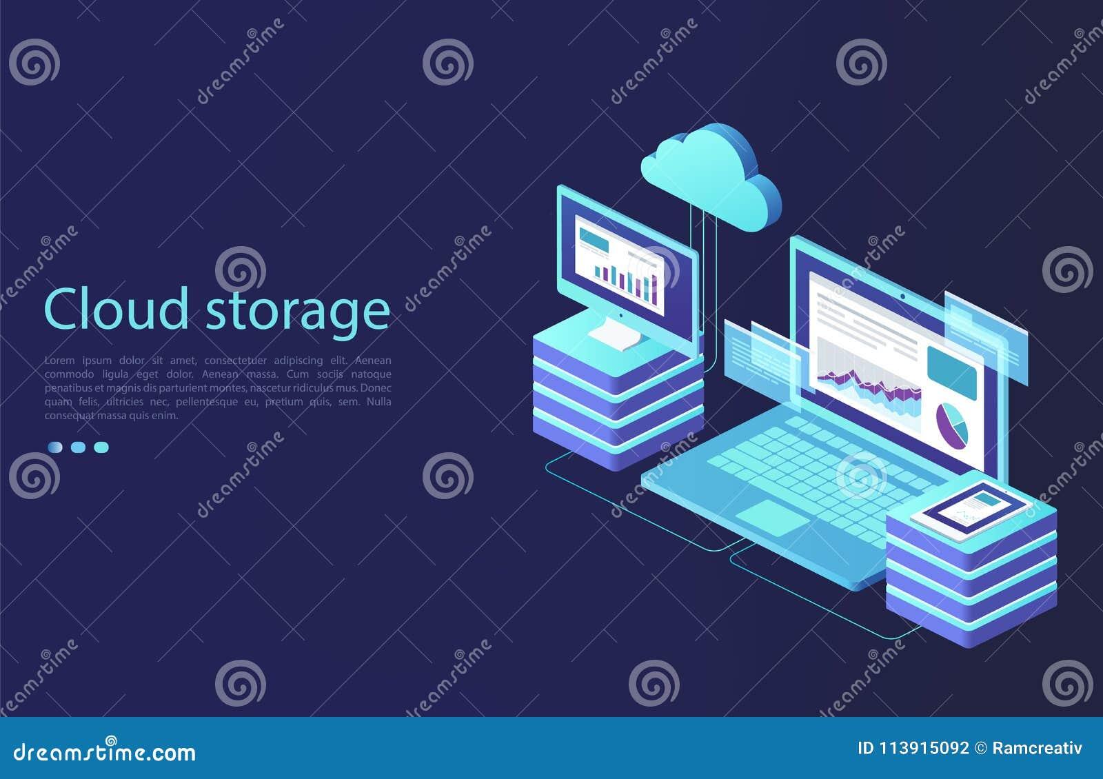 Dane centrum z cyfrowymi przyrządami Pojęcie obłoczny magazyn, transfer danych