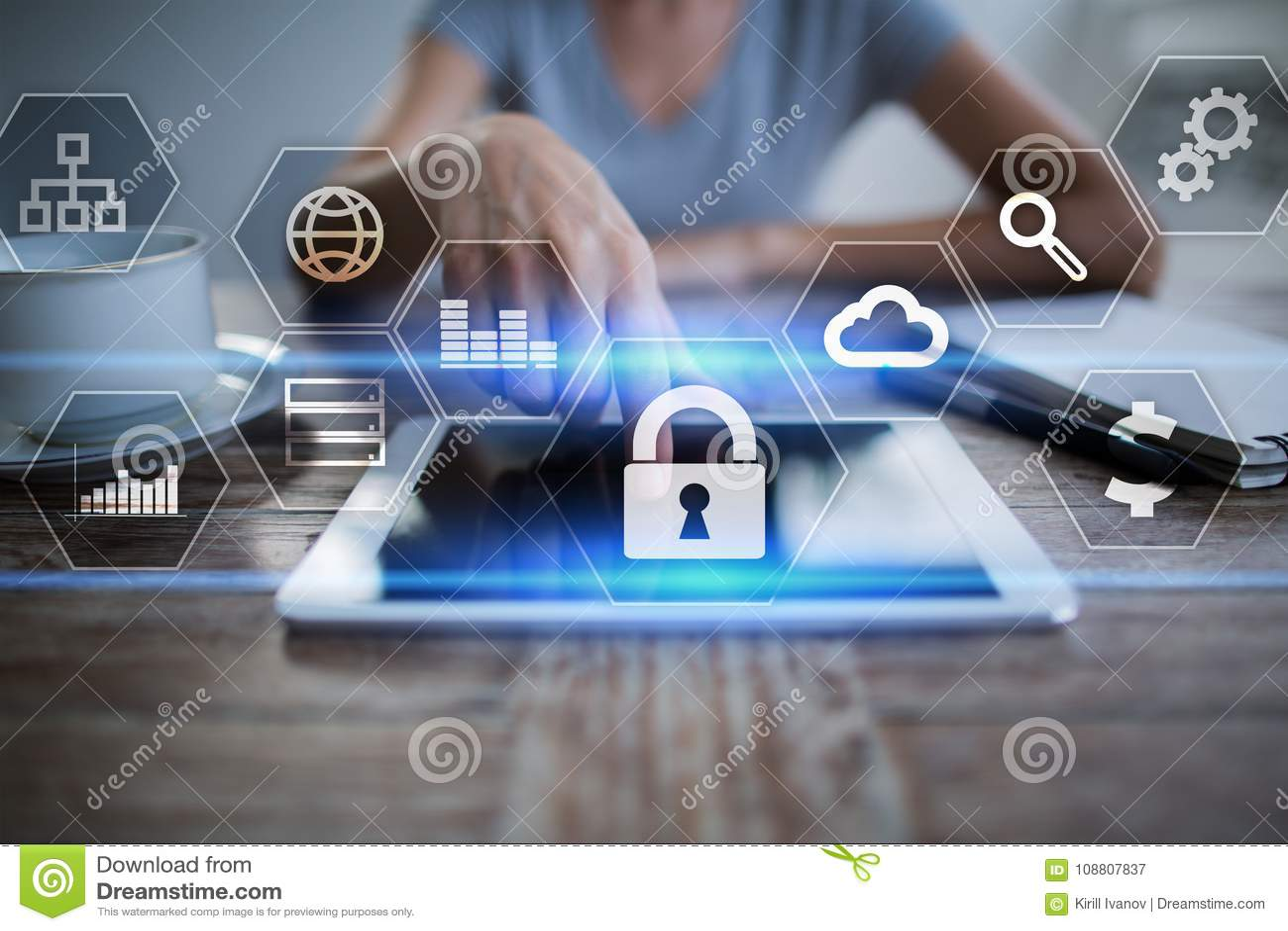 Dane ochrona, Cyber ochrona, ewidencyjny bezpieczeństwo i utajnianie, internet technologia i biznesu pojęcie