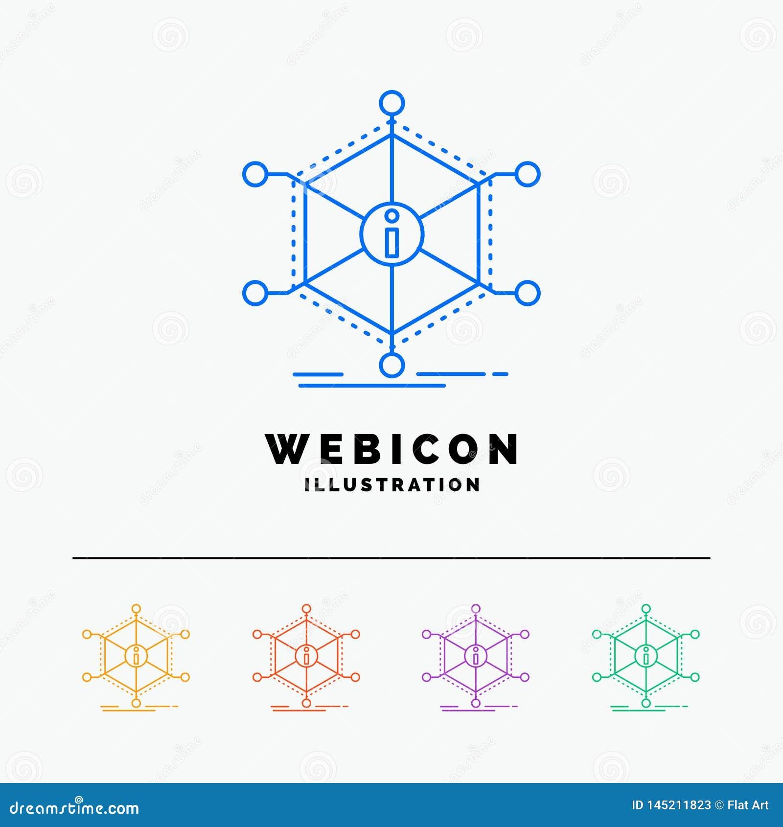 Dane, pomoc, informacja, informacja, zasobów 5 koloru linii sieci ikony szablon odizolowywający na bielu r?wnie? zwr?ci? corel il