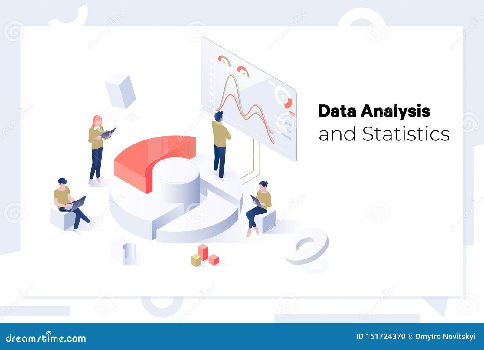 Dane statystyk i analizy pojęcia sieci Isometric sztandar