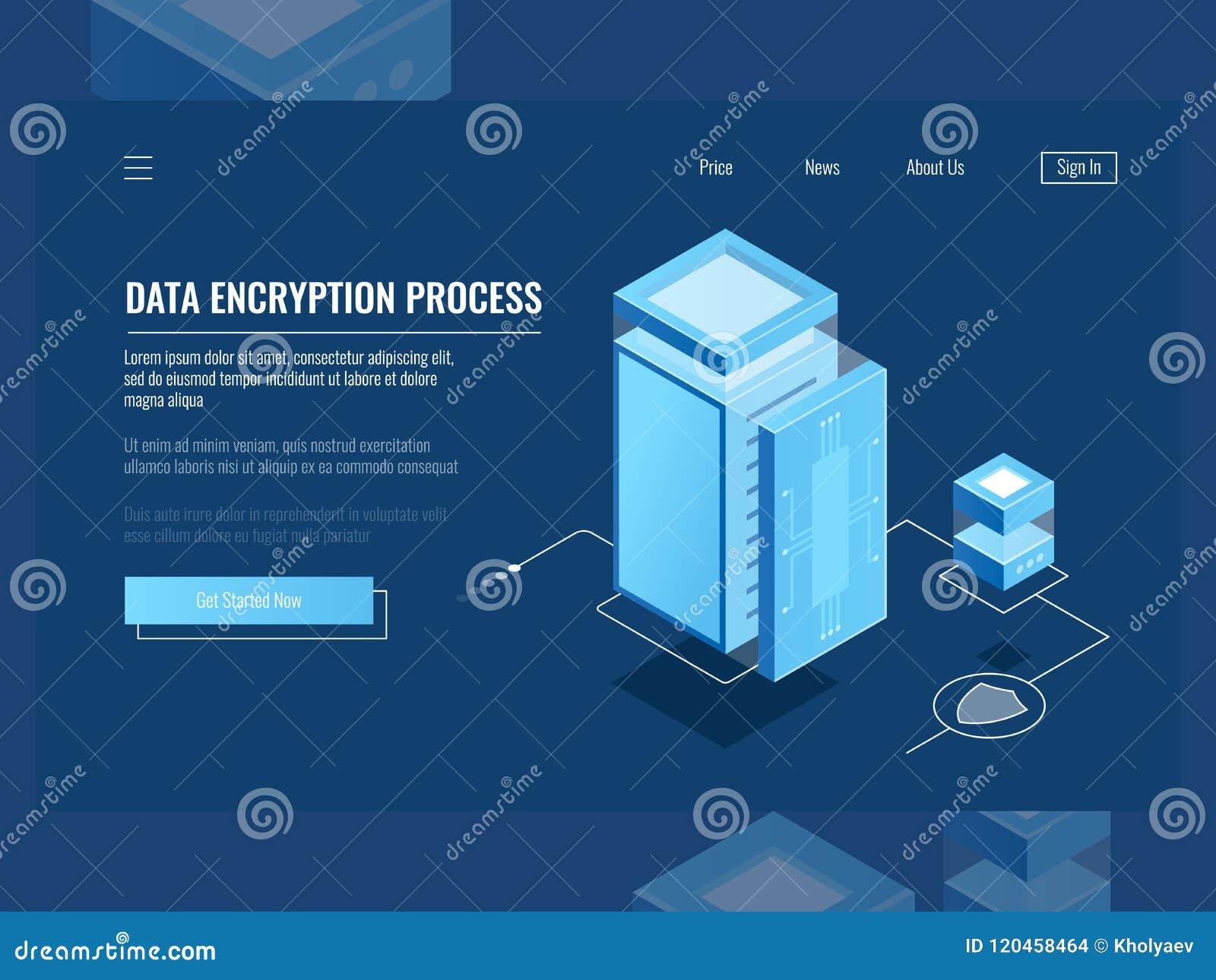 Dane utajniania proces, ochrony cyfrowa informacja, serweru pokój, obłoczny składowy isometric wektor