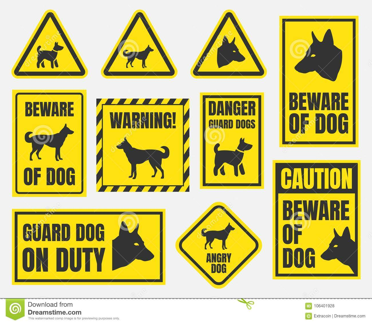 Beware Of Dog Sign Stock Vector Illustration Of Angry 106401928