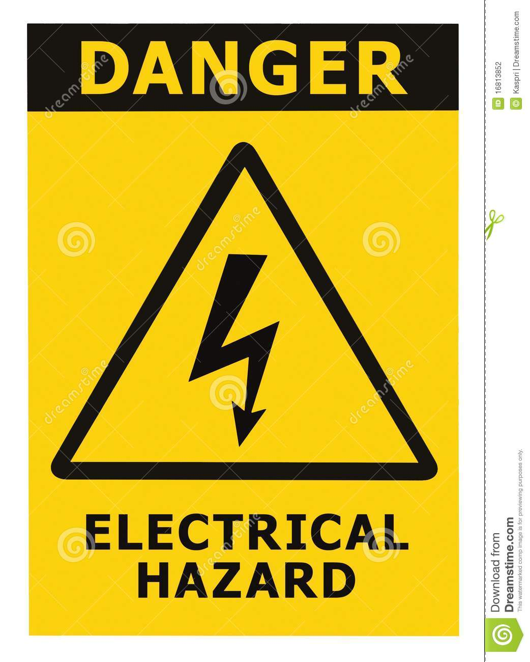 Danger Electrical Hazard Sign With Text Isolated Stock Photo