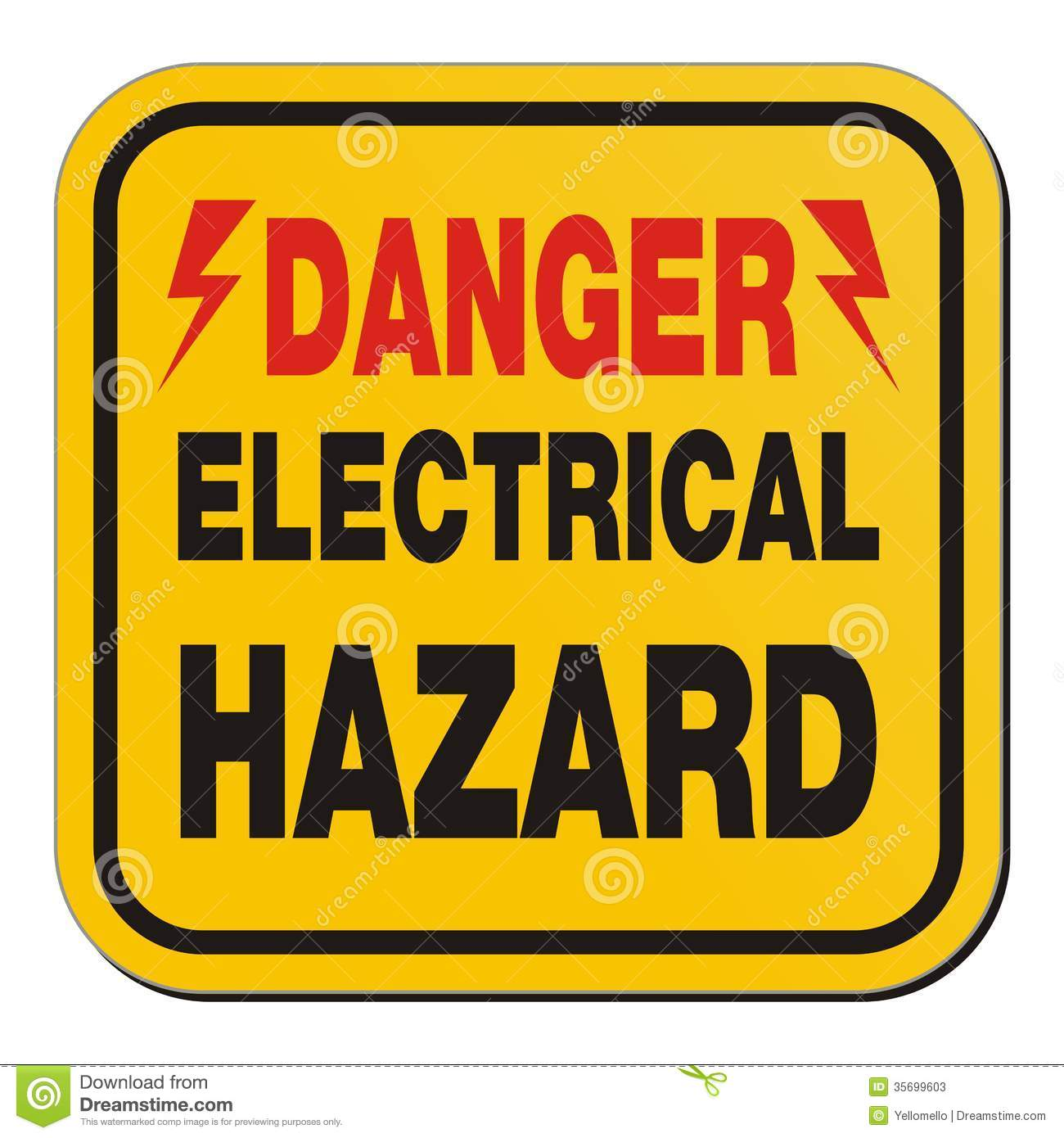 Danger Electrical Hazard Yellow Sign Stock Illustration