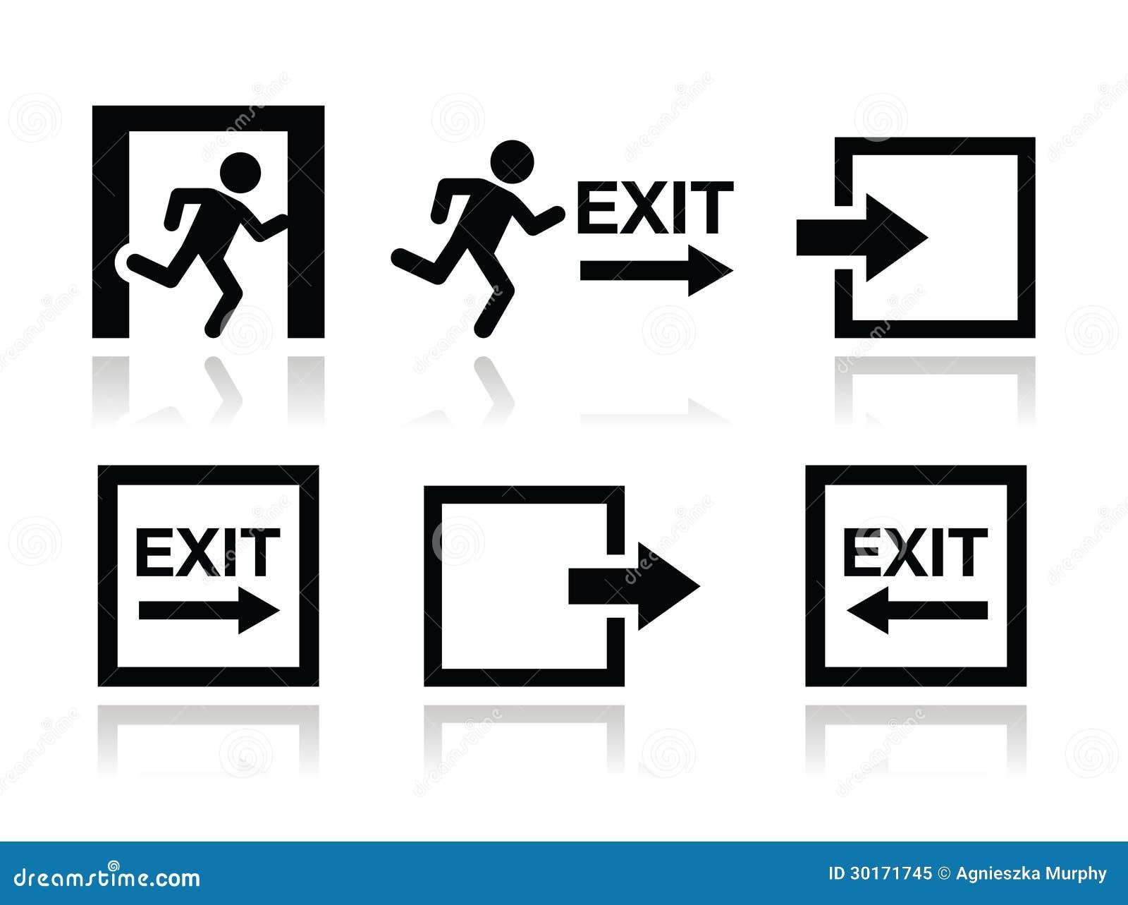 Emergency Exit Icons Set Stock Illustration. Illustration