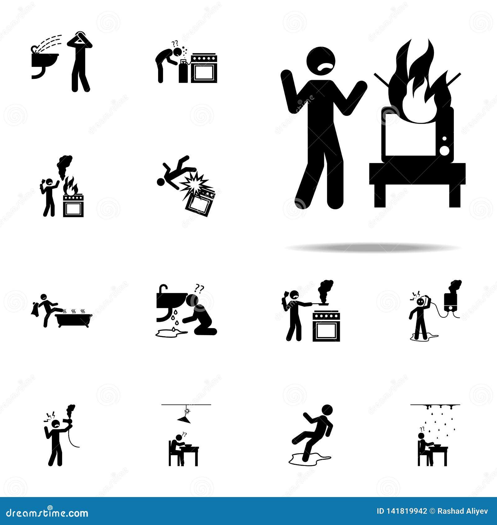 Danger, Hair Dryer Icon. Home Hazard