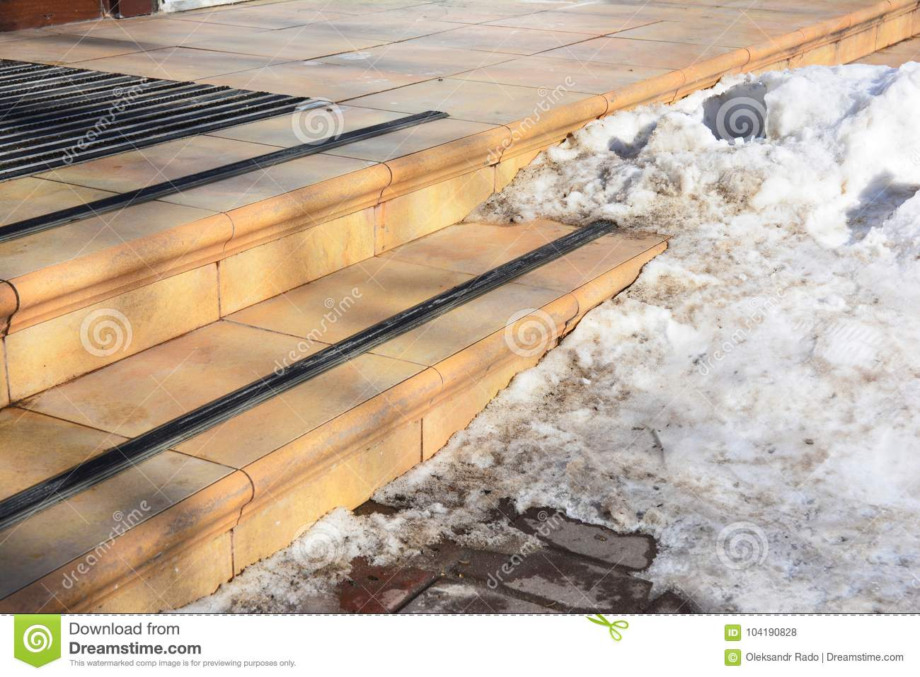 Ice Covered Slippery Stair Case. Slippery Walkway With Ice And