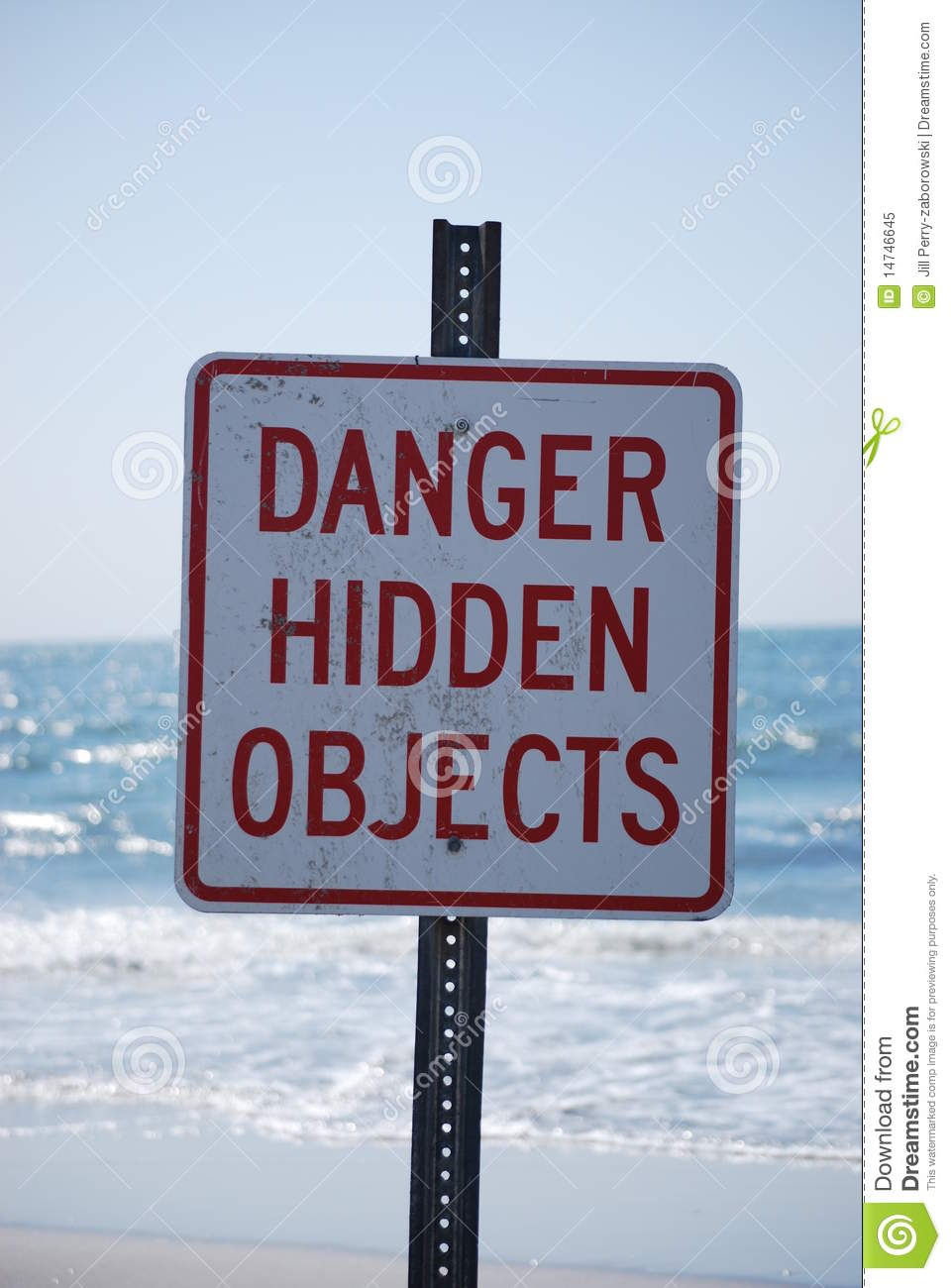 Danger Hidden Objects Sign On The Beach Royalty Free Stock ...