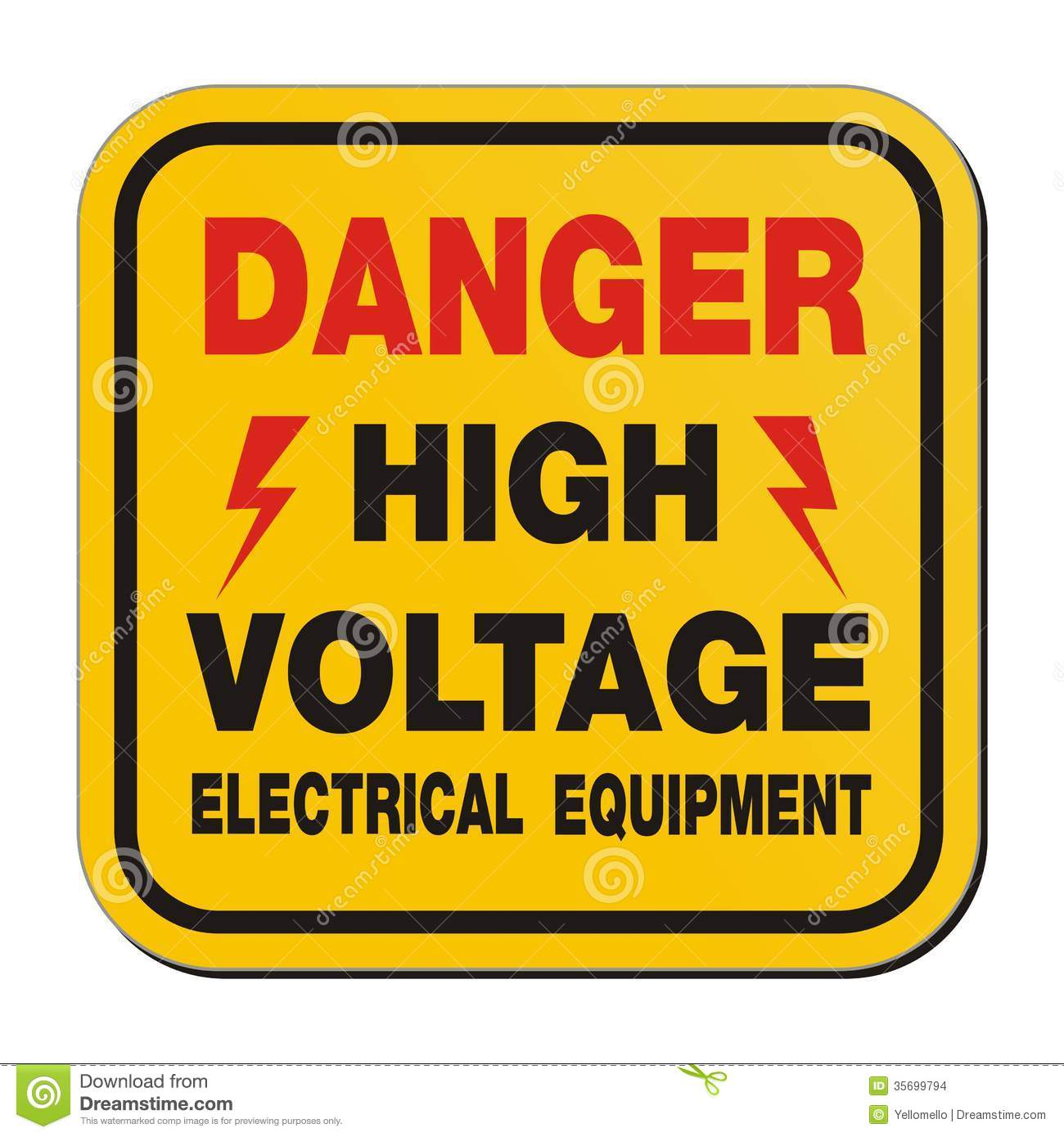 Danger High Voltage Electrical Equipment - Yellow Sign Stock