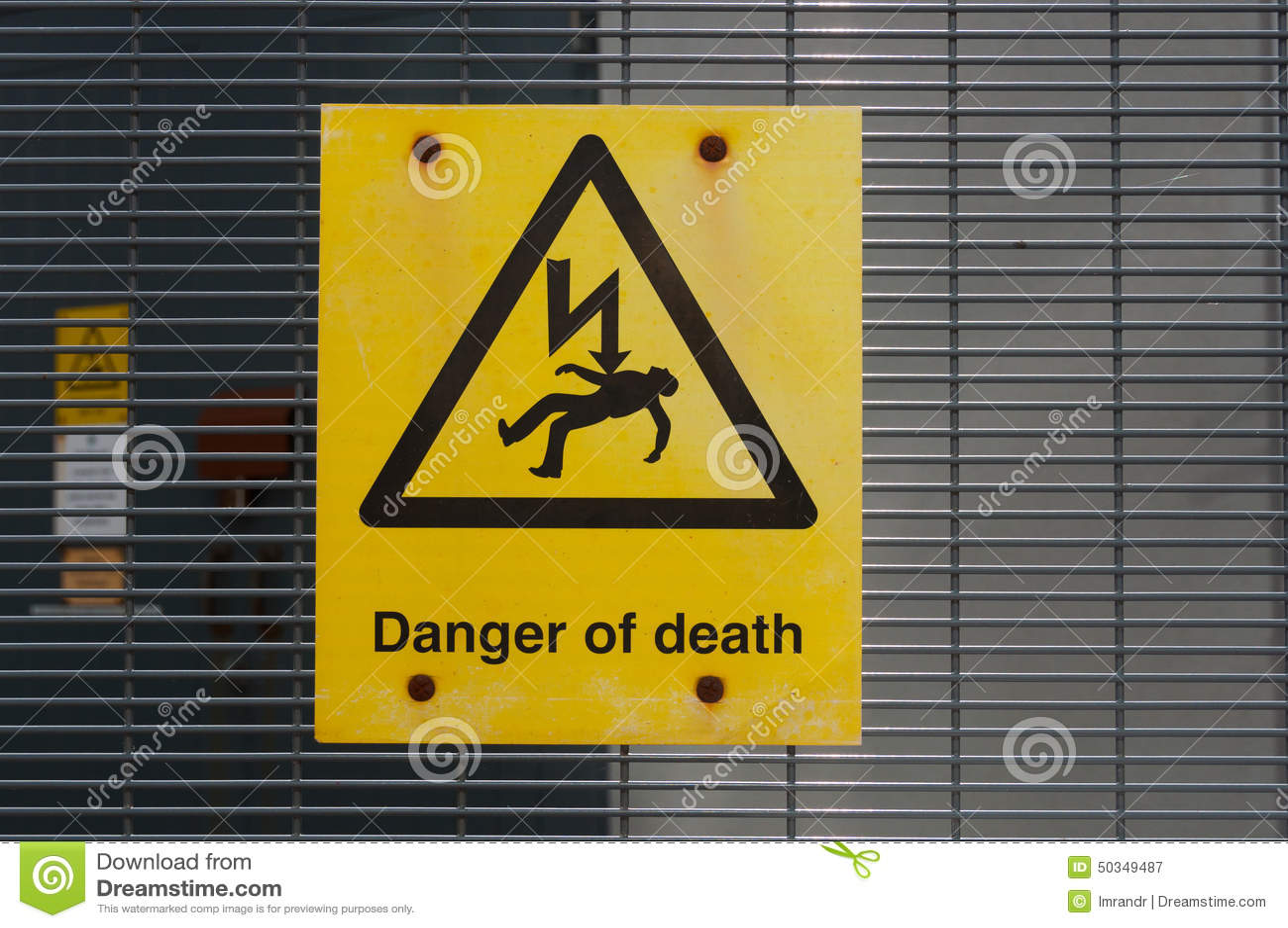 Danger High Voltage Risk Of Death Sign Stock Image - Image of notice